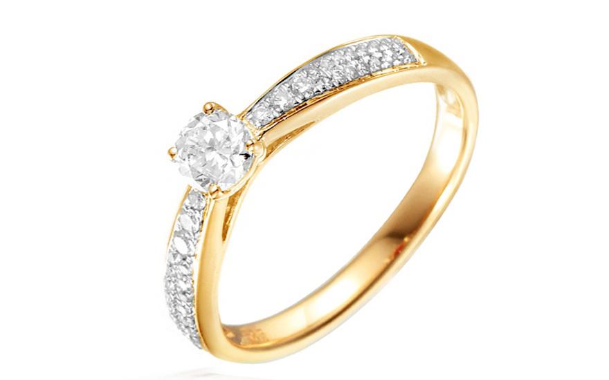 b60fa3aa4 Zlatý zásnubný prsteň s diamantmi Dalia IZBR031 | ZlatáHorúčka.sk