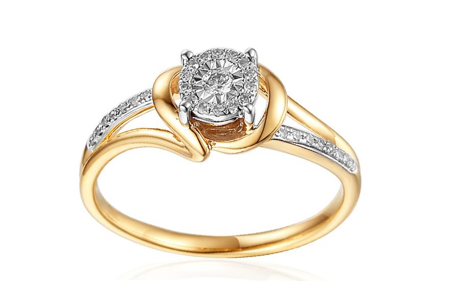 3eb227f74 Zlatý zásnubný prsteň s diamantmi Mabel IZBR262 | ZlatáHorúčka.sk
