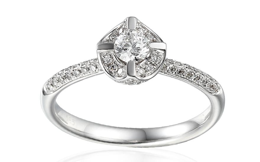 Zlatý zásnubný prsteň s diamantmi Malaya IZBR163A  47ba0600727