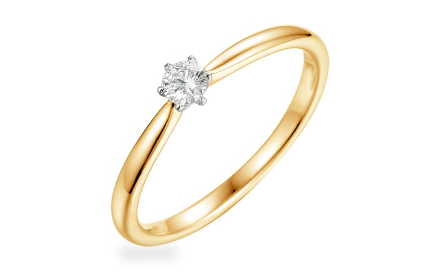 feb951c0d Zlatý zásnubný prsteň s diamantom 0.100 ct Aurin IZBR356 ...