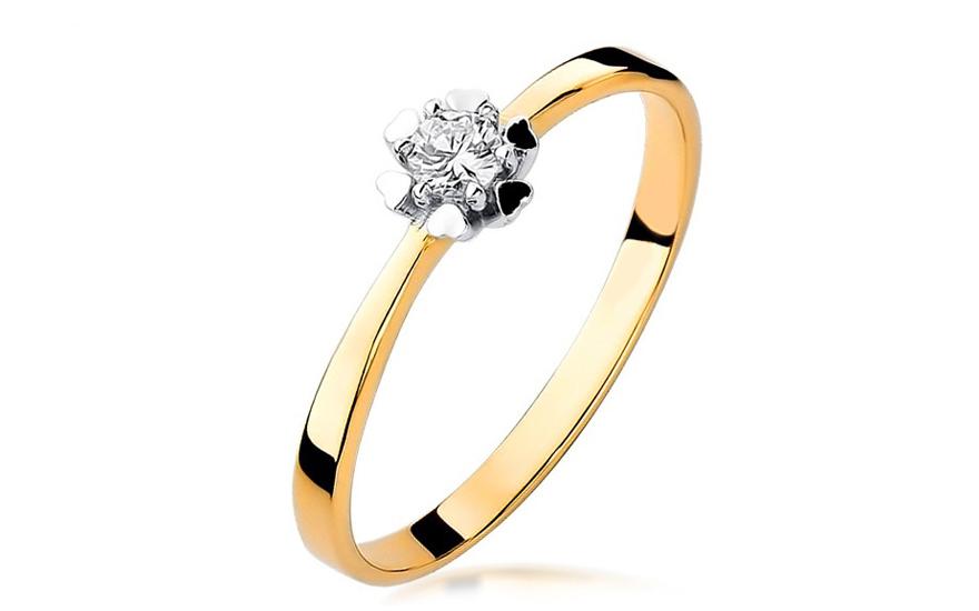 a77b5f4c9 Zlatý zásnubný prsteň s diamantom Igraine BSBR033 | ZlatáHorúčka.sk