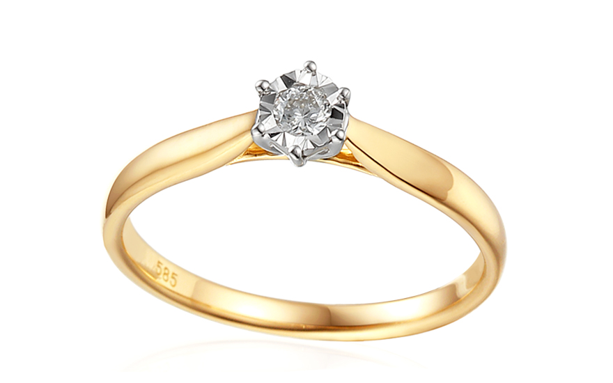 b8dbf9b89 Zlatý zásnubný prsteň s diamantom Lawanda IZBR303 | ZlatáHorúčka.sk