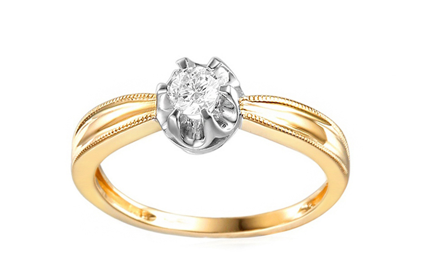 7d94a2478 Zlatý zásnubný prsteň s diamantom Mireya IZBR048 | ZlatáHorúčka.sk