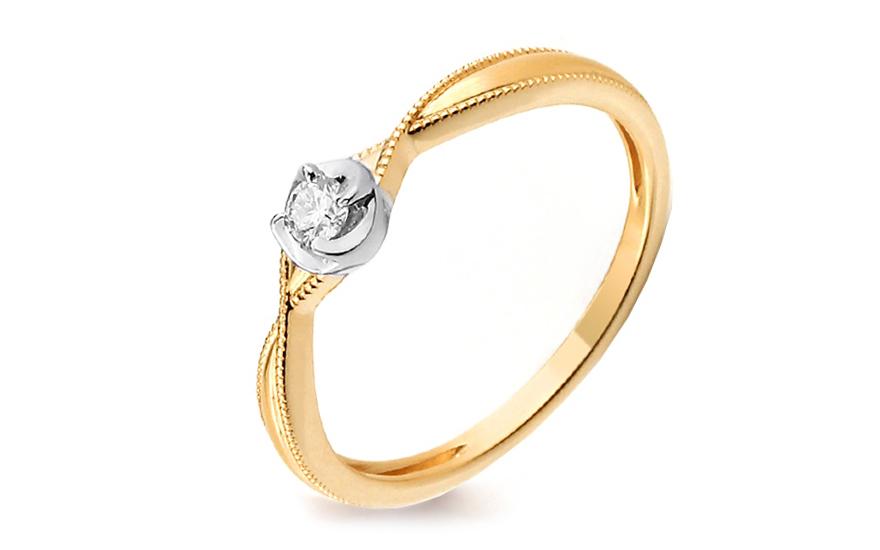 Zlatý zásnubný prsteň s diamantom Zaina IZBR242  b519c2a9ba1
