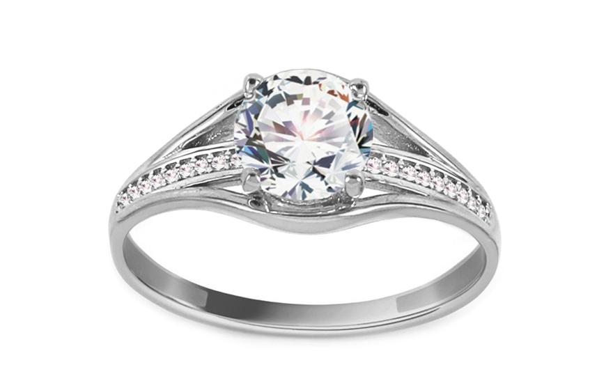 Zlatý zásnubný prsteň so zirkónmi Baylee white IZ11286A ... 61e92034f11